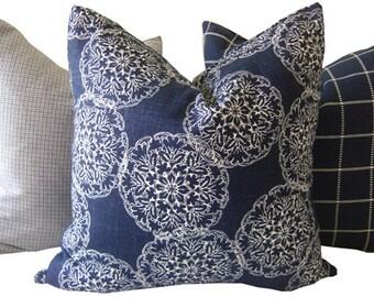 Indigo Pillow - Navy Pillow - Danda Indigo Pillow - Decorative Pillow - Duralee Danda - Indigo Ikat Pillow - Square Pillow - Navy Euro Sham