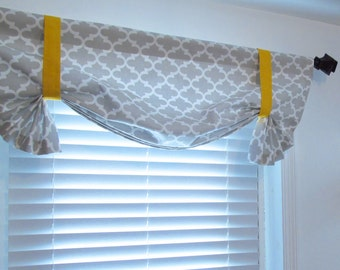 Quatrefoil Tie Up Valance Lined Curtain French Grey Fulton/ Gray White Yellow Custom Sizing Available!
