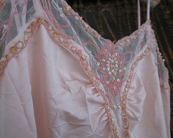 Fabulous Icy-Rose Halter Tank - Laced, Embroidered and Sequined, Vintage - Medium to Large