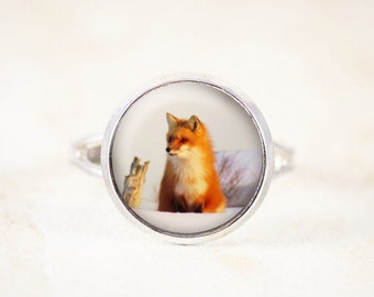Fox Jewelry Ring - Fox Wildlife Ring, Red Fox Ring, Wildlife Jewelry, Fox Vixen, Animal Lover Gift, Adjustable Ring, Nature Jewelry - Small