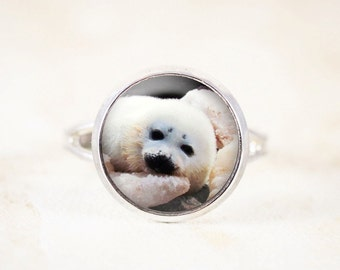 Baby Seal Ring - White Seal Jewelry, Marine Animal Jewelry, Harp Seal Animal Ring, Silver Animal Jewelry, Baby Animal Jewellery Ring, Small