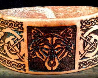 Celtic Knot Wolf Leather Bracelet