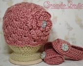 Vintage Pink Baby Girl Hat and Shoes Set-Crochet Baby Girl Hat Shoes-Baby Girl Photography Prop-Newborn Photo Props-Newborn to 12 months