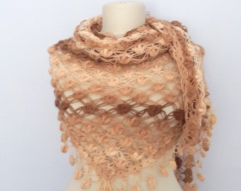 DISCOUNT  Brown crochet shawl ,Triangle ,warm ,scarf ,bolero, love, gift for her,cowl,collar,wrap,fashion,color
