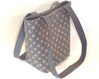Polka Dot Purse, Small Tote Bag, Fabric Bag, Cloth Purse, Gray, Pink Flowers, Floral Purse, Shoulder Bag, Teen Purse