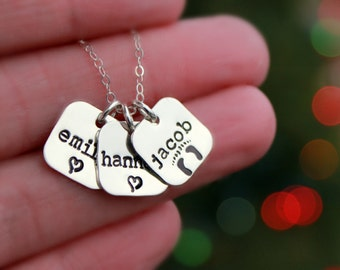 Hand Stamped STERLING SILVER Charm Necklace - Personalized Necklace - Tiny Squares - Custom Necklace - Kids Names - Mothers Necklace