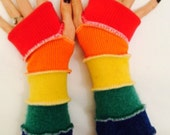 Rainbow colored fingerless gloves upcycled arm warmers