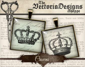 Crowns Images - 1.5 inch square / 1 inch square / Scrabble Tile - VDSQVI0071