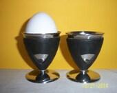 Vintage Black and Chrome egg cup holder  -  Starbucks Egg Cup -  Starbucks Egg Holder
