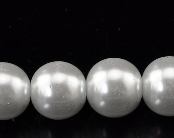 25 BRIDAL WHITE Round Glass Pearl Beads, 14mm  bgl0748
