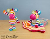 Combo Pack - Rainbow Zebra Lovey and Amigurumi Set for 5.99 Dollars - PDF Crochet Pattern - Instant Download - Special Offer Pack