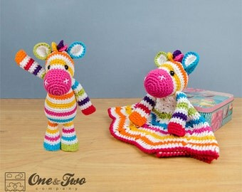 Combo Pack - Rainbow Zebra Lovey and Amigurumi Set for 7.99 Dollars - PDF Crochet Pattern - Instant Download - Special Offer Pack
