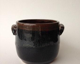 Wheel Thrown Stoneware Pottery Jar/Pot, Black and Waterfall Brown Glaze