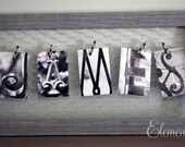 Wire Memo Board Alphabet Photography Name Frame, Wedding or Anniversary Gift, Personalize with your own photos or mementos