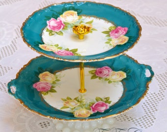 RESERVED for lumierelanuit Rosenthal Bavaria Cakestand 2 Tier Vintage China Tea Stand for Weddings, FREE shipping