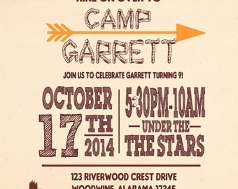 Camp Out/Bonfire Party Invitation-PRINTED