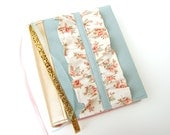 Bible Cover - Book Sleeve - ESV Journaling Bible Single and Double Column - NIV - Aqua with Cream Floral Ruffles with Gold Metallic