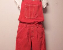 Vintage 90's  RED Hand Dyed Denim Overalls Pants - Sz Small ---Waist 28
