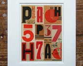 USSR vintage type & Eastern bloc art. Russian art small abstract print. 8 x 10 inch red geometric print. Title: 'Signals Eastern Bloc'