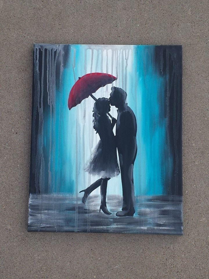 Couple under red umbrella in the rain by vintagearthero on for Painting red umbrella