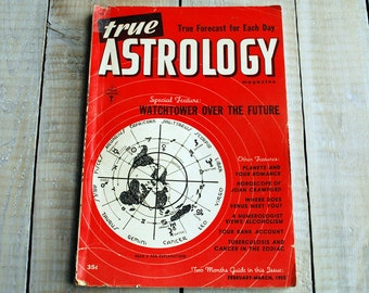 True Astrology Magazine, February and March 1955 Issue, Aquarius, Pisces, Aries 62nd Birthday, 62 years old