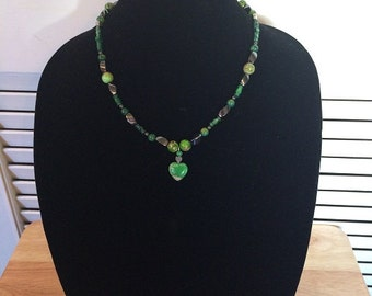 15% OFF-Green Earth Healing Necklace, Jewelry, Summer Fall Necklace, EarthTones,
