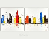 Colorful City Skyline Painting Modern Art Canvas Chicago Home Decor