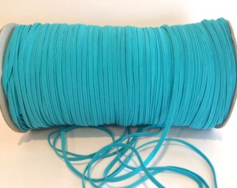 "Blue1/8"" Skinny Elastic - Turquoise Blue  FOE  skinny Fold Over Elastic - FOE 1/8"" inch Baby Headbands - 5 yards Skinny Elastic 4mm"