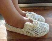 Crochet PATTERN - Simply Pretty Women's Slippers (sizes 5-6, 7-8, 9-10, 11-12)