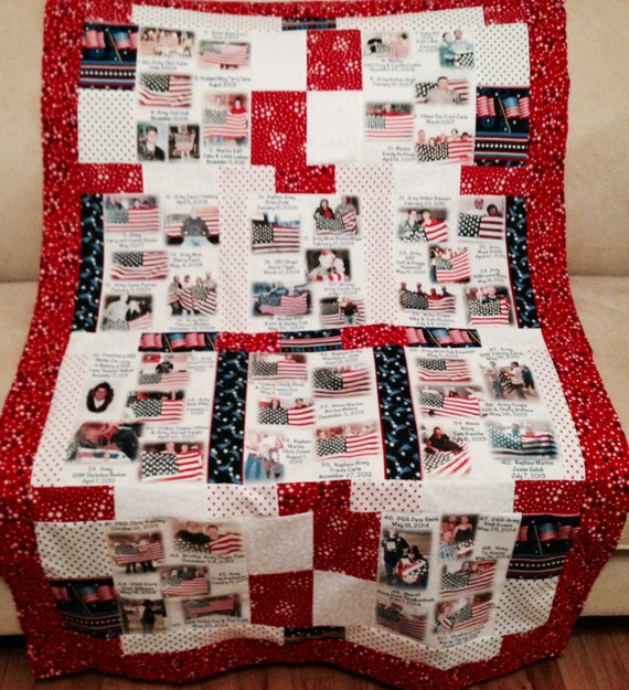 """Photo Quilt with People & Places Labeled 10 Fabric Photo Collages. larger 36""""x60""""  Perfect Lap and Display Size to View All Photos. Washable"""