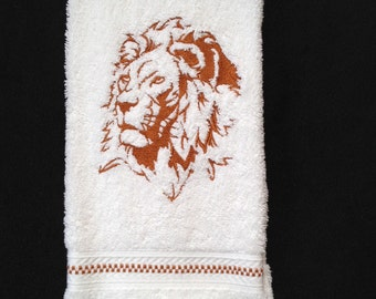 Lion Silhouette Embroidered bathroom hand towel.