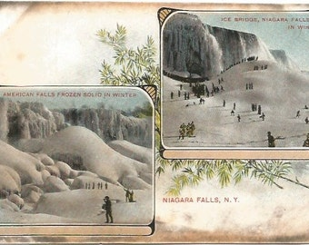 American Falls Ice Bridge Niagara Falls Snowy Winter Scene Undivided Back Postcard over 100 Years Old!  Vintage Postcard