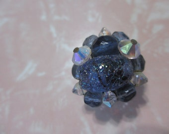 Navy and Opalescent Cluster Beaded Magnet