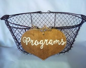 """Large Rustic Wedding """"Programs"""" Sign WITH WIRE BASKET for Your Rustic, Country, Shabby Chic Wedding"""