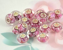 5beads 6Beads 10Beads Large Hole 4.5mm Charm Rondelle Pink White Clear Lampwork Handmade Glass Beads 8mmx14mm Glass Gemstone Beads