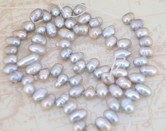 Loose Rice Dancing Grey Pearl Strand freshwater cultured pearl beads Top drilled Pearl Gemstone Bead Whosale Pearls Strand, Full One Strand