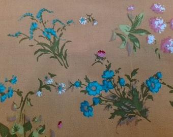SALE - Wildflowers, caramel, 1/2 yard, pure cotton fabric
