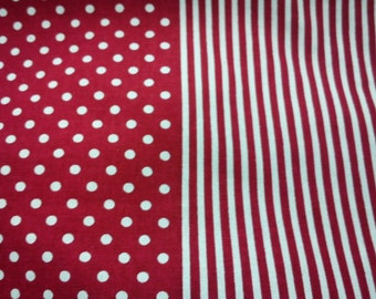 Ivory dot and stripe, red, 1/2 yard, pure cotton fabric