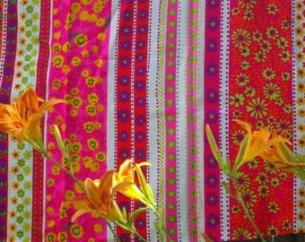 Bright & Beautiful Pop Floral Stripe Fabric Length