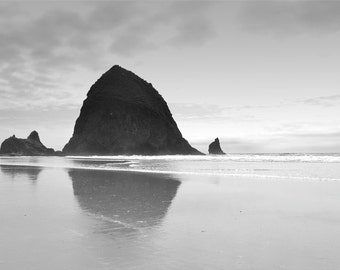 Cannon Beach Photography Print 11x14 Fine Art Oregon Ocean Haystack Rock Spring Black and White Landscape Photography Print.
