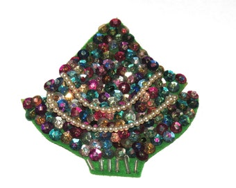 Vintage 50s Felt & Sequins Hand Made Christmas Tree Brooch