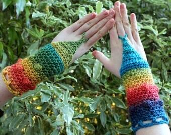 Rainbow Crochet Arm Warmers