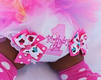 First Birthday Bloomers -- Cupcake Cutie -- Birthday Girl bloomers with pink polka dots and cupcakes