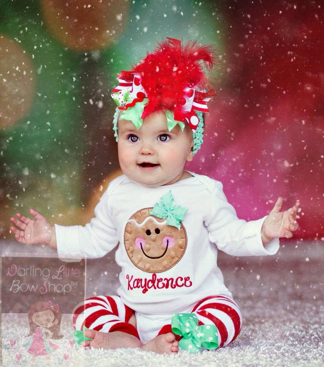 Baby Girl Christmas Outfit Gingerbread by DarlingLittleBowShop
