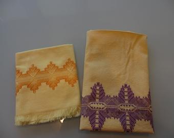 Vintage Yellow Tea Towels Swedish Huck Embroidery