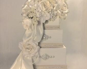 Wedding Money Box Cream and Diamond  Wedding Card Box,  Secured Lock Wedding Card Box Diamond Wedding Card Box, Off White Wedding Card Box
