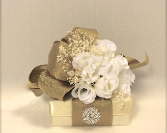 Gift Box Jewelry Gift Box Gold White Gift Boxes Wedding Favor Box Jewelry Box Pre-wrapped Box Bridesmaid gift Elegant, Romantic, Rhinestone