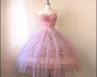 SALE- Coupon Code Perfect Pink 1950s Tulle & Lace Party/Prom Gown