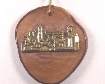 Jerusalem Necklace, Olive wood pendant with Jerusalem Judaica Israel  P027
