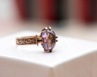 Free Shipping ~ Intricate 1800's Victorian Antique Vintage Delicate Rose Gold Purple Amethyst Diamond Rose of Sharon Ring Size 4.5